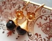 Delicate Flower Earrings Gold Vermeil  Labradorite New Years Eve Delicate Floral Dangle Romantic Girly Feminine Bridesmaid