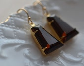 Estate Style Brown Earrings Old Hollywood Glamour Vintage Inspired   Dangle Sparkle Glam Rhinestone Sparkle Elegant