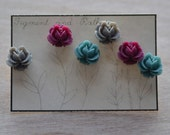Earring Set Flowers Floral Three Grey Gray Maroon Teal Blue Spring Bridesmaids Gift Set Mothers Day Rose Dainty Delicate