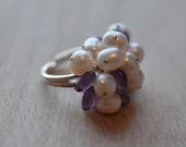 Pearl Amethyst Sterling Silver Ring Cocktail Statement Wedding Bride Bridesmaid Prom Purple White Large Bold Formal Party Adjustable