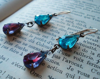 Estate Style Earrings Old Hollywood Glamour Vintage Inspired Turquoise Amethys Blue Purple Black Tie Bridesmaid Elegant Formal Occasions