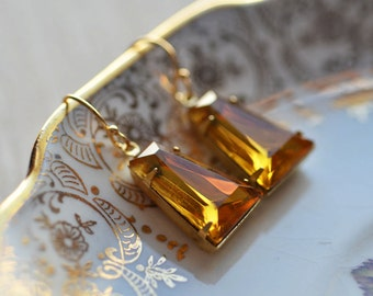 Estate Style Yellow Earrings Old Hollywood Glamour Vintage Inspired   Dangle Sparkle Golden Glow