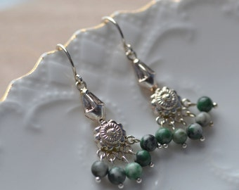 Green Earrings Bohemian Inspiration  Sterling Silver Dangle Earrings Green Tree Agate Beads Boho