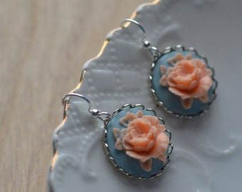 Rose Earrings Pink Blue Spring Flowers Something Blue Dangle Cabochon Floral Summer Contrast Silver Plated Feminine Bride Wedding