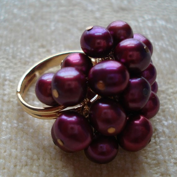 Maroon Fresh Water Pearl Ring, Perfect for Bridesmaids, Formal Occassions