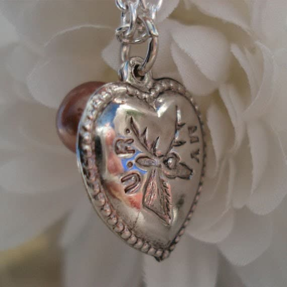 You Are My Dear/Deer Charming Heart Shaped Charm Fresh Water Pearl, Vintage Inspires Nostalgic Romatic Love Quaint