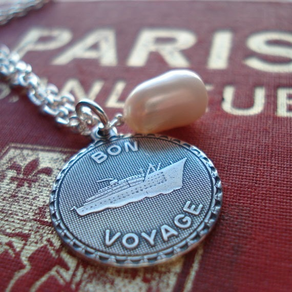 Long Distance Love Bon Voyage Silver Plated French Charm White  Pearl World Traveler Honeymoon French Francophile Vintage Inspired