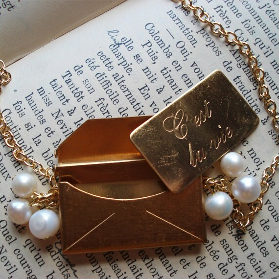 Envelope Pendant Long Distance Love Letter White Fresh Water Pearls French Francophile Valentine Romantic Travel  Mail Valentines Day