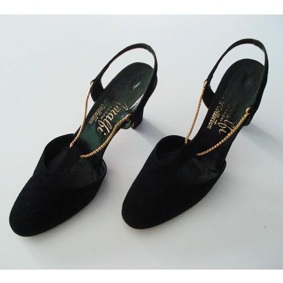 Black High Heels Christmas Party Shoes  6.5 M Gold Tone Chain Strappy Sandals Amalfi Rangoni Designer  Prom Grad Black Tie Dress Up