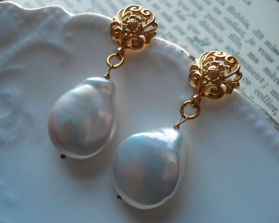 Pearl Earrings Baroque Inspired Coin Gold Vermeil Weddings Brides Bridesmaids Prom New Years EveBlack Tie Maid of Honor