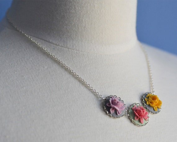 Spring Flowers Necklace Flower Floral Blue Yellow Pink Purple Green Pastel Rose Cabochon Silver Plated Chain Charm