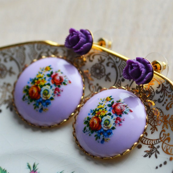 Flower Earrings Dangle Spring Summer Lilac Purple Red Yellow Blue Green Floral  Rose Multi Coloured Bright Cheerful Gold Plated