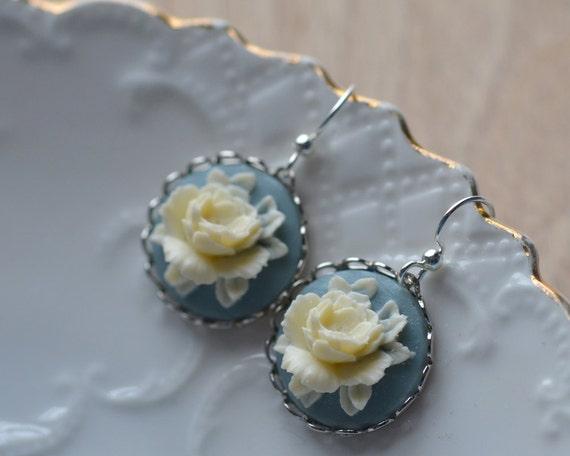 Rose Earrings Cream Blue Spring Flowers Something Blue Dangle Cabochon Floral Summer Contrast Silver Plated Feminine Bride Wedding