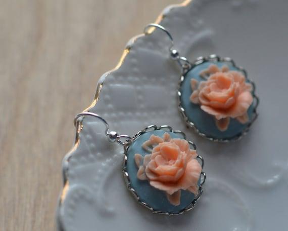 Rose Earrings Pink Blue Spring Flowers Something Blue Dangle Cabochon Floral Summer Contrast Silver Plated Feminine Bride Wedding