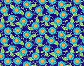 ON SALE Amy Butler- Lark Collection -Button Flowers Navy -1 yard