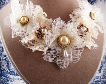 Ivory Satin and Lace Statement Necklace