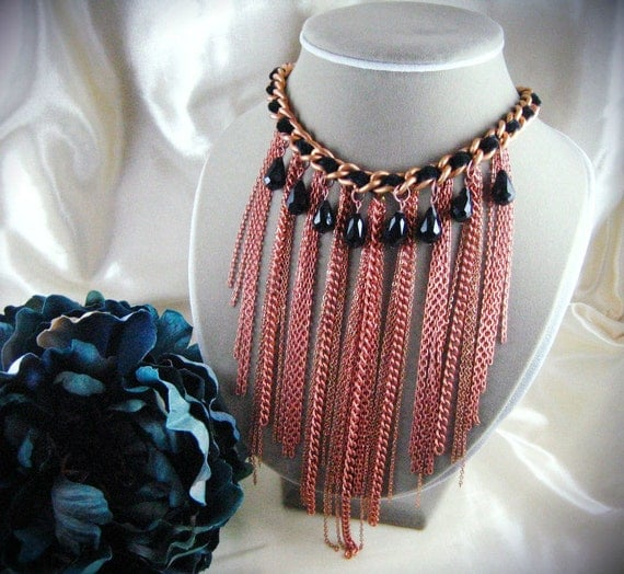 RESERVED for CoconutCocoSkin - Antique Copper Fringe Necklace
