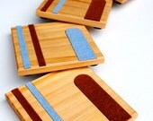 Wooden Coasters Inlaid with Wool Felt - Blue & Redish Lines