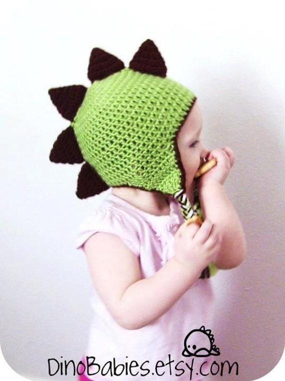 Dinosaur Earflap Beanie Pattern Child Sizes