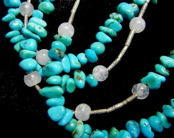 Two strand necklace - turquoise, sterling silver and moonstone (the birthstone for December)