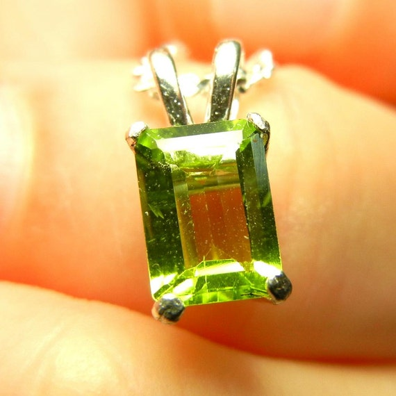 Emerald cut peridot in sterling silver pendant (the birthstone for August)