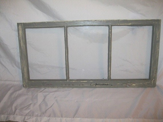 Vintage Window Picture Frame -Sage Green --Life Is Precious