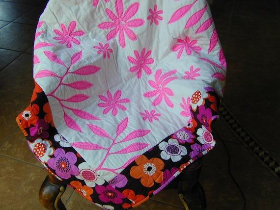 Quilt Lap Size Whole Cloth Cotton Print Pink Chocolate