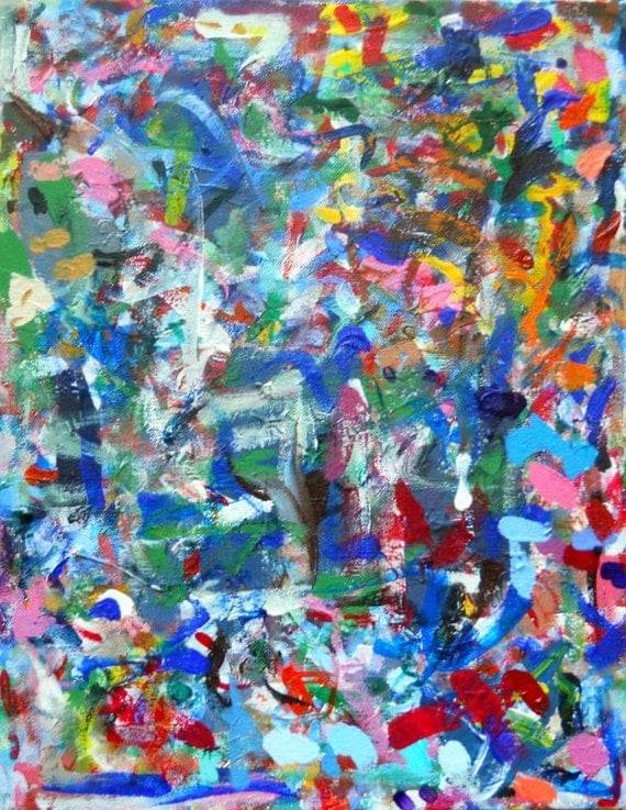 "Splat Abstract textured original painting 11""x14"""