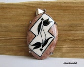 black, tulip, brown, white, spring, summer, mothers day, sterling silver, free shipping