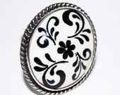 black white romantic ottoman ring , sterling silver , handpainted , free shipping