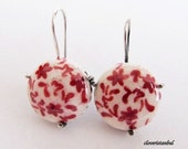red flowers -sterling silver- free shipping