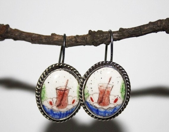 tea time- turkish tea -tea glass -brown -meaningful earrings- sterling silver- handpainted -free shipping