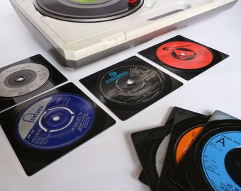 Record coasters RETRO Music Coasters Handmade From Vintage Vinyl Recycled Records