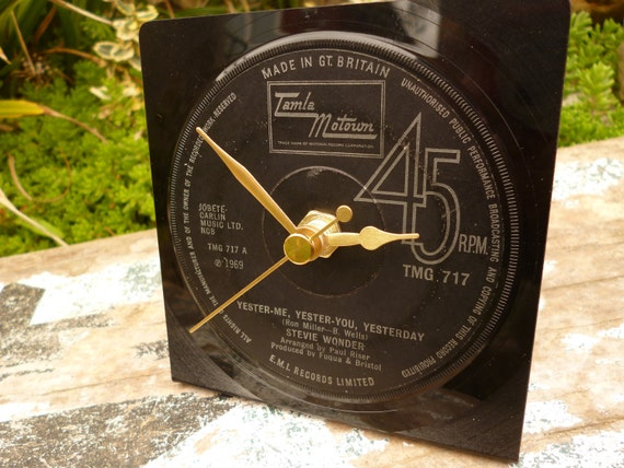Tamla Motown Clock STEVIE WONDER  Recycled Vintage Vinyl Record Unique Christmas Gift