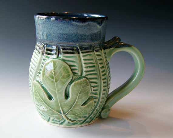 Pottery Coffee Mug, Fig Leaf, Handmade Pottery Ceramic Clay in Green Blue and Black by Hope Fregerio