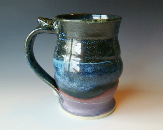 Pottery Coffee Mug / Handmade Wheel Thrown Pottery Ceramic Clay / Lavender Black and Blue