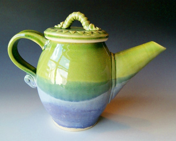Pottery Teapot / Handmade Wheel Thrown Pottery Ceramic Clay / Lavender Blue and Green