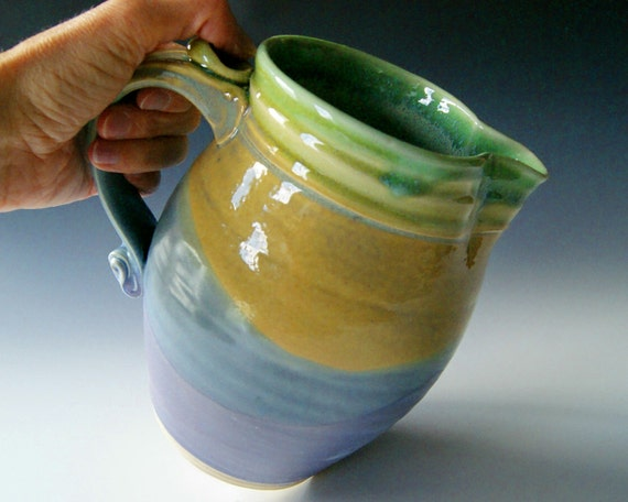 Ceramic Pitcher, Wheel Thrown Pottery, Stoneware Clay Pitcher, Lavender Coral Blue, Green, and Gold