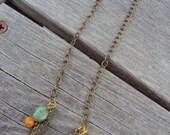 Leaf Earrings Long Gold and Brass Beaded Earrings Charm Jewelry Summer Bohemian Urban Jewelry