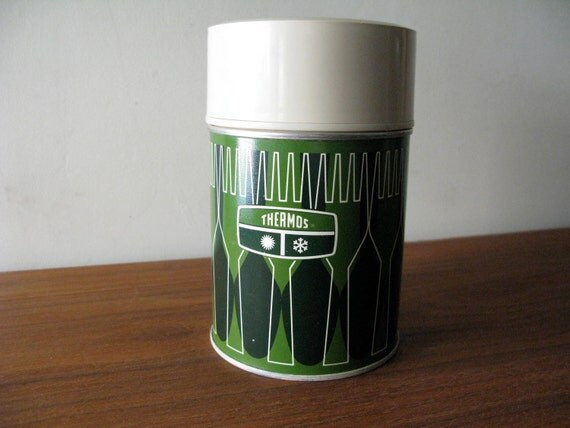 Vintage Green Fork and Spoon King Seeley Thermos