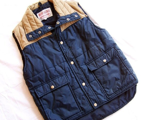 Vintage Small Puffy Ski Vest Blue and Tan