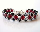 Swarovski Crystal Beaded Jewelry Bracelet,  Bead Woven, Beadweaving, Right Angle Weave, Black Red Silver, Gift for Her, Formal, Costume