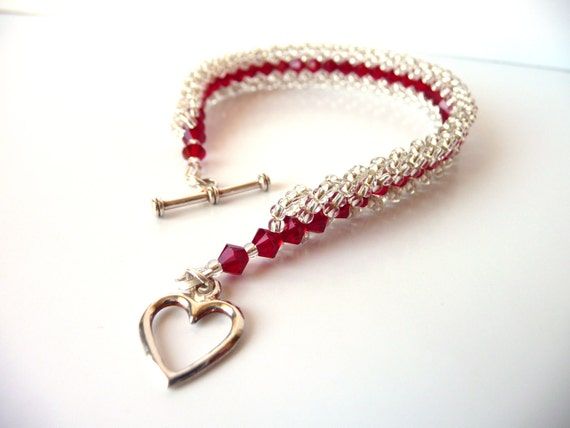 Swarovski Bead Woven Crystal Bracelet, Red and Silver Beaded Jewelry Bracelet, Red Wedding, Bridal Jewelry, Bridesmaid Gift