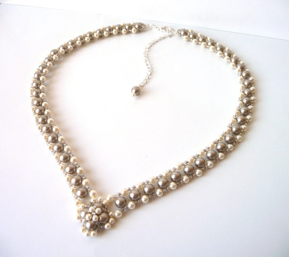 Mother Of The Bride Jewelry: Champagne Pearl Bridal Necklace Wedding Jewelry Bridesmaid