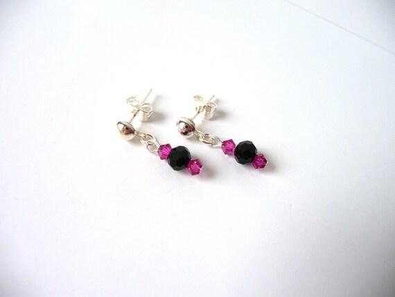 Little Girl Earrings, Fuchsia Pink and Black Crystal Earrings, Childrens Jewelry, Kids Jewelry, Dangle Earrings, Jewelry for Little Girls