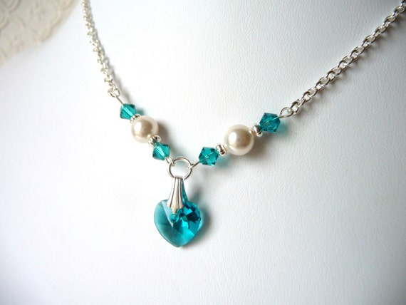 Teal Flower Girl Jewelry, Pearl & Crystal Heart Jewelry Necklace, Childrens Jewelry, First Communion, Bat Mitzvah, Graduation Gift