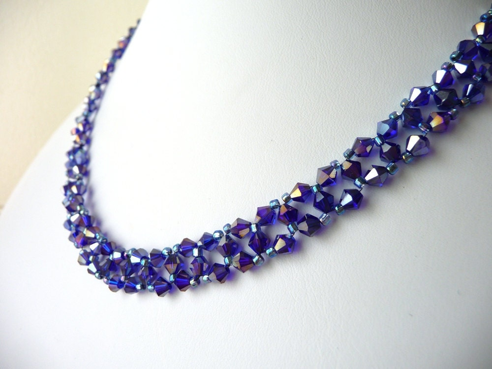 metallic purple beaded jewelry necklace bead woven