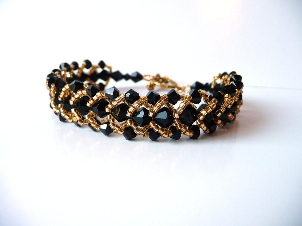 Black And Gold Beaded Jewelry Bracelet Swarovski Crystal