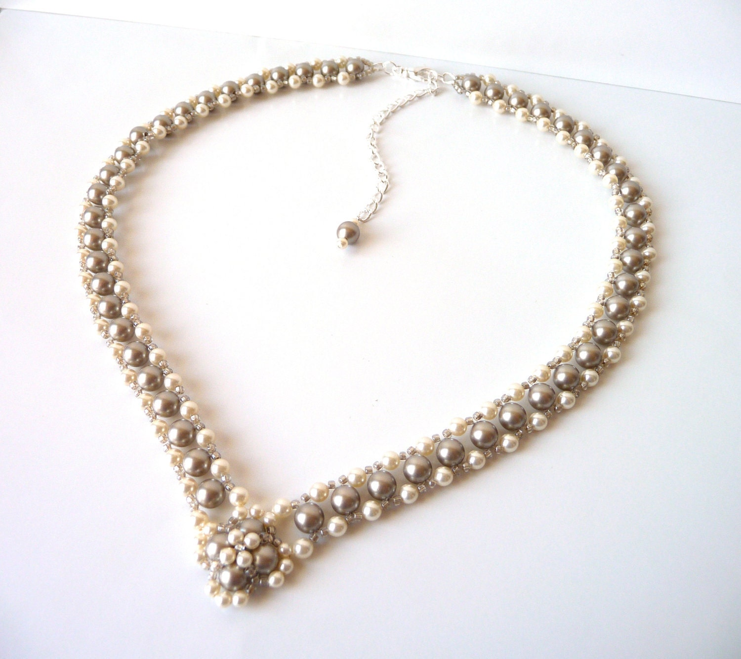 champagne pearl bridal necklace wedding jewelry bridesmaid