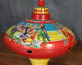 Vintage West German Tin Top Featuring Snow White and the Seven Dwarves